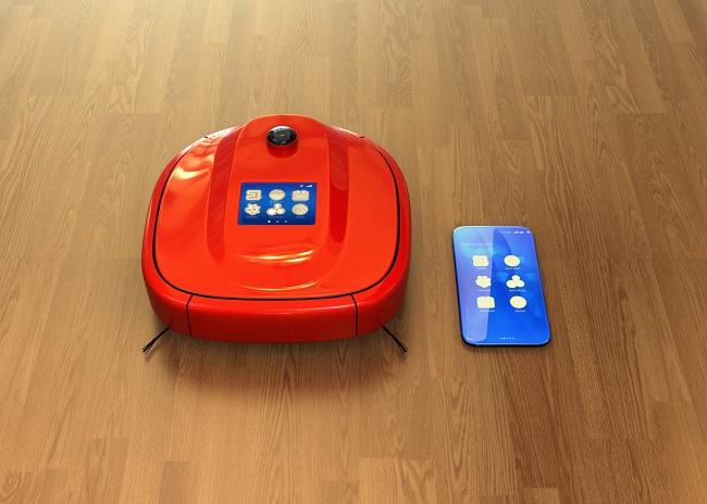 Red robotic vacuum cleaner and smartphone. Smart appliances concept. 3D rendering image.